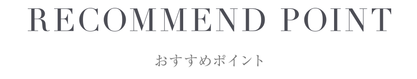 RECOMMEND POINT おすすめポイント